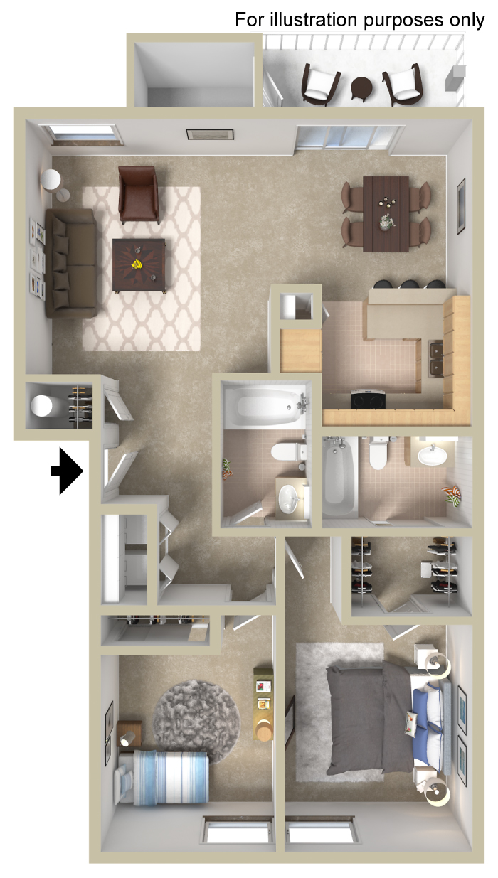 The St. James Is A Two Bedroom, Two Bathroom Garden Style Apartment Home.  This Beautiful Apartment Home Offers 972 Square Feet Of Open, Spacious  Living.