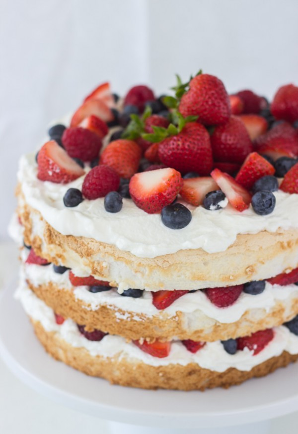 cake with whipped cream and berries cool cake in fridge and then enjoy ...